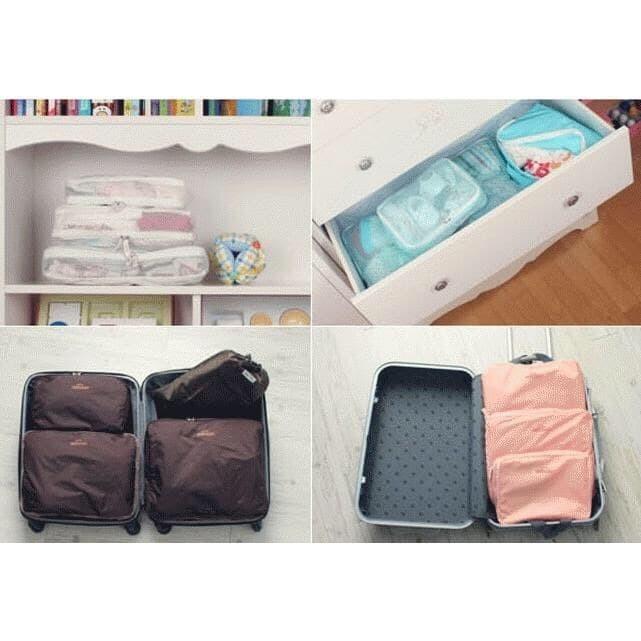 5 in 1 bags in bag travelling ( dpt 5 bag ) travel organizer tas set - Merah