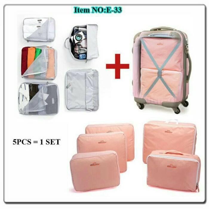 5 in 1 bags in bag travelling ( dpt 5 bag ) travel organizer tas set - Abu- abu Muda