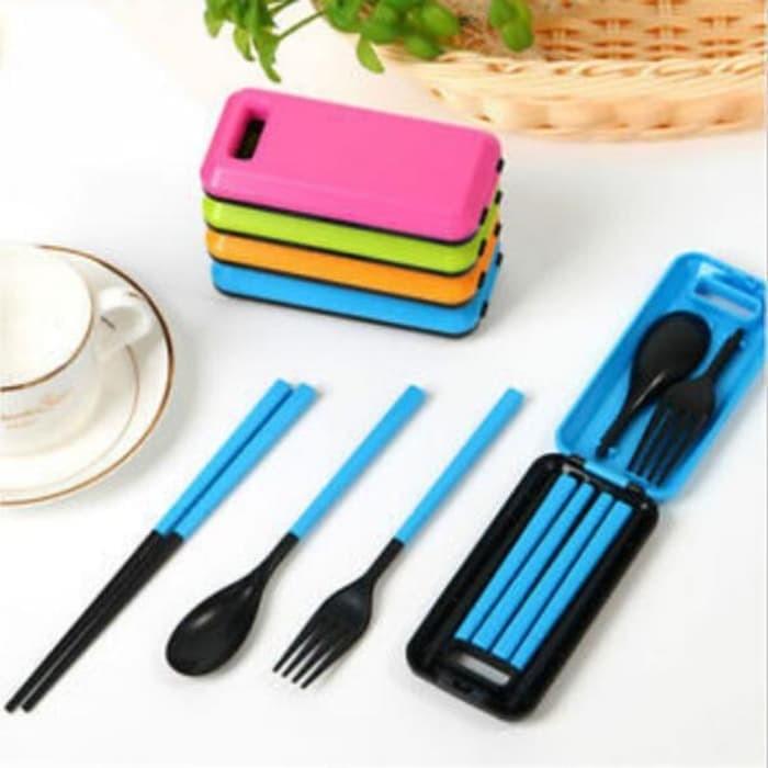 Travel Cutlery Set / Peralatan Makan Lipat Portable - Biru