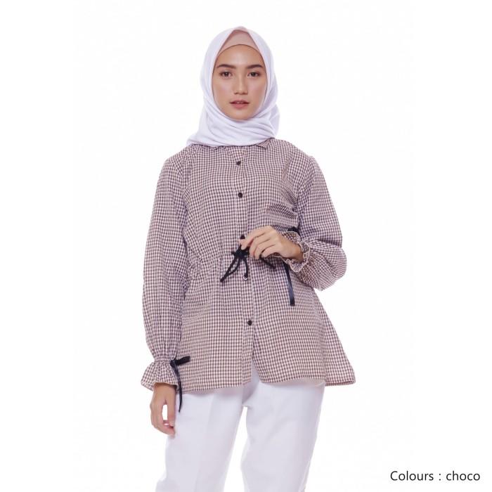 Foto Produk Baju Atasan Wanita | Vinza Square | Blouse Muslim Wanita - Pink dari Tazkia Hijab Store