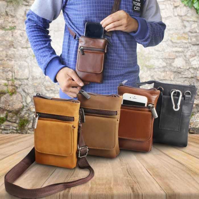 Waistbag Genuine Leather Multifungsi For Smartphone tas pinggang kulit c92360ea6f