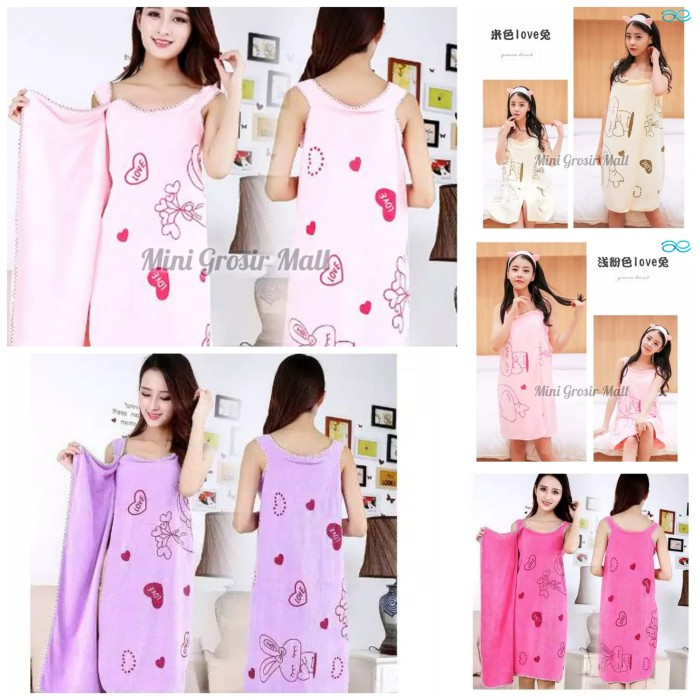 Wearable Bath Towel / Handuk Mandi Multifungsi Multi Fungsi Polos - Putih
