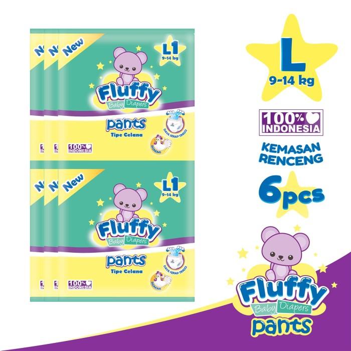 Fluffy popok bayi tipe celana l6 - l1 x 6 pack