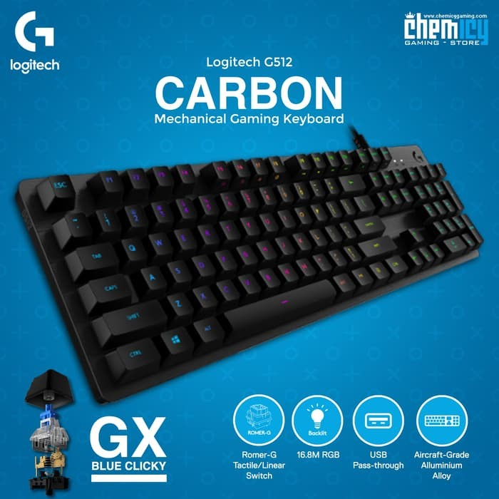 c35aa91dad2 Logitech G512 Carbon RGB - GX Blue Switch Mechanical Gaming Keyboard