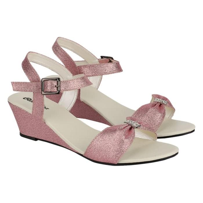 wedges rz1 fiber pink dan hitam sandal wanita pesta cantik modis gaya 13561892c7