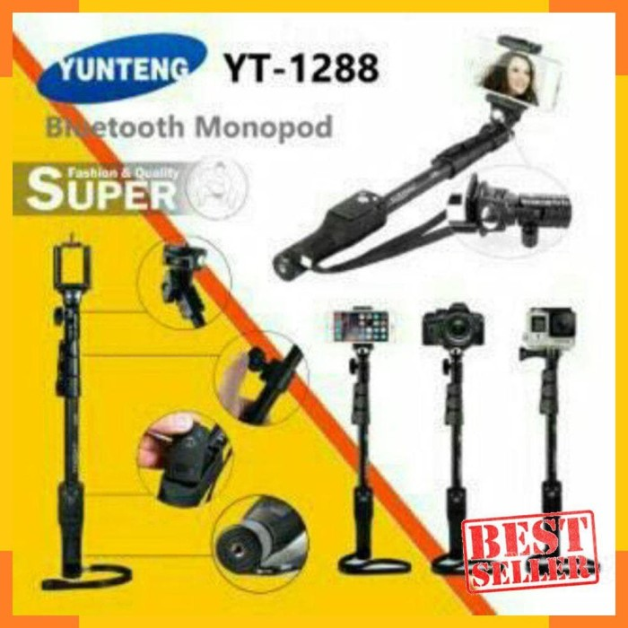 Yunteng Tongsis Bluetooth YT - 1288 Hitam Original