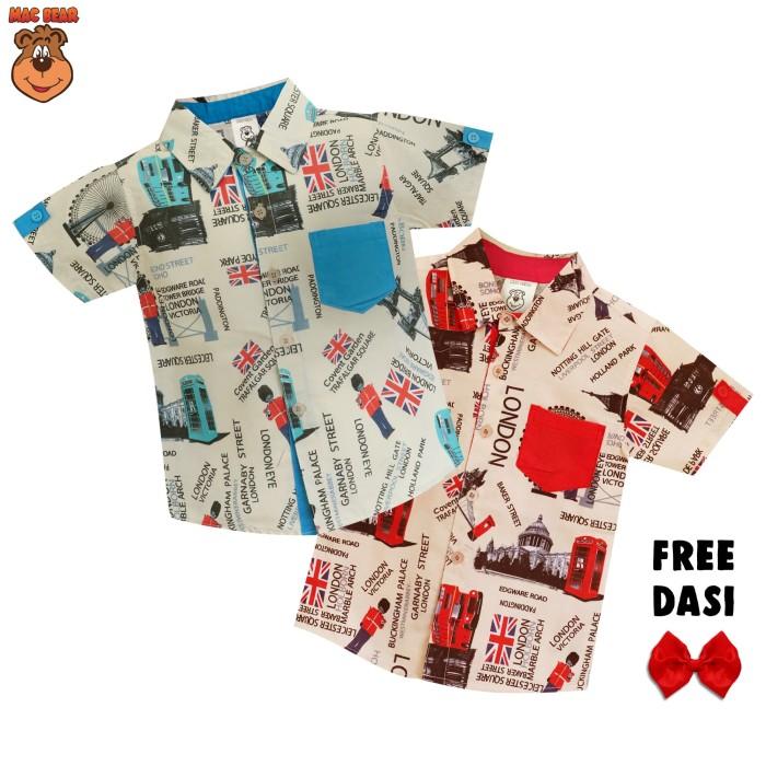 harga Macbear junior baju anak kemeja london street free dasi - size 10 merah Tokopedia.com