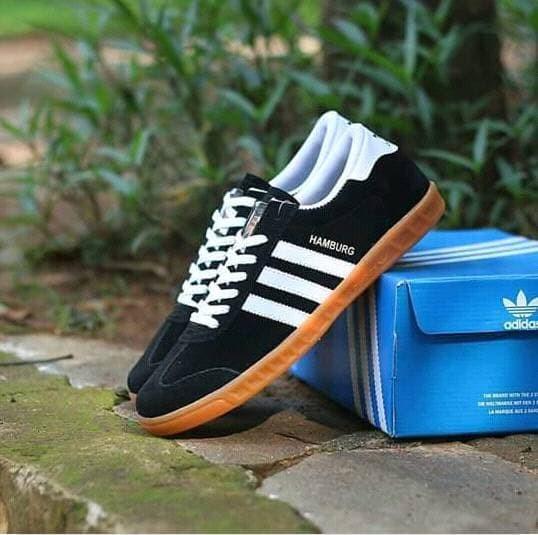 Ske 001 Sepatu Adidas Hamburg Grade Original Abu Gum Shopee