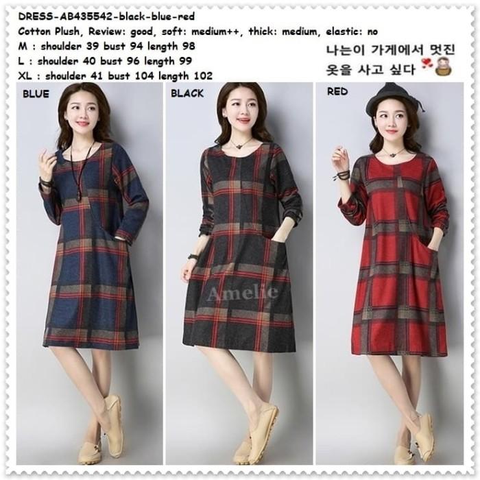 Foto Produk Mini Dress Lengan Panjang Korea Import AB435542 Black Red Merah Tunik dari Amelie Butik Wholesale