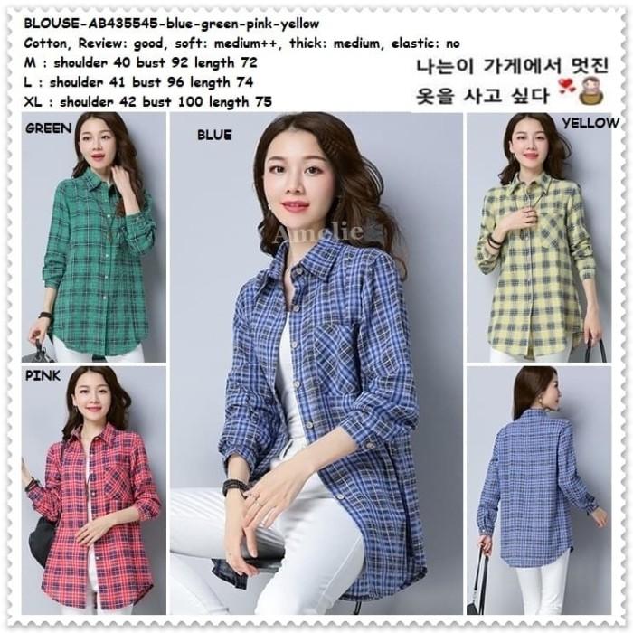 Foto Produk Baju Atasan Kemeja Kotak Wanita Blouse Korea Import AB435545 Tunik dari Amelie Butik Wholesale