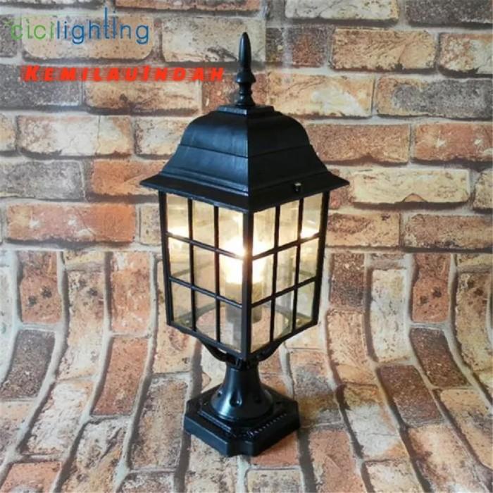 Lampu pilar taman garden lamp bohlam led minimalis antik outdoor 0607
