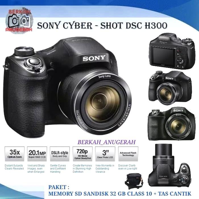 Kamera sony cyber-shot dsc-h300 35x optical zoom + mc sd 32gb + tas