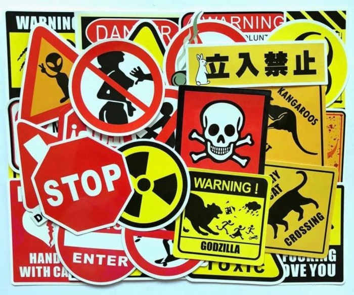 Terhot Stiker 280 - Warning Sign koper rimowa tas president travel
