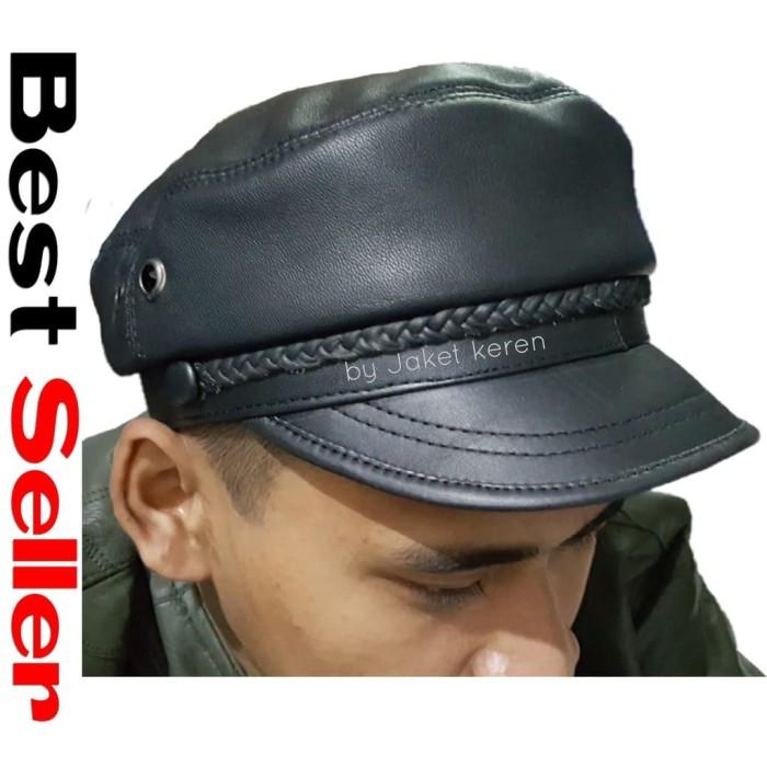 Topi pria kulit asli nahkoda polisi motif sulam bahan lembut lentur un 3557e5b738