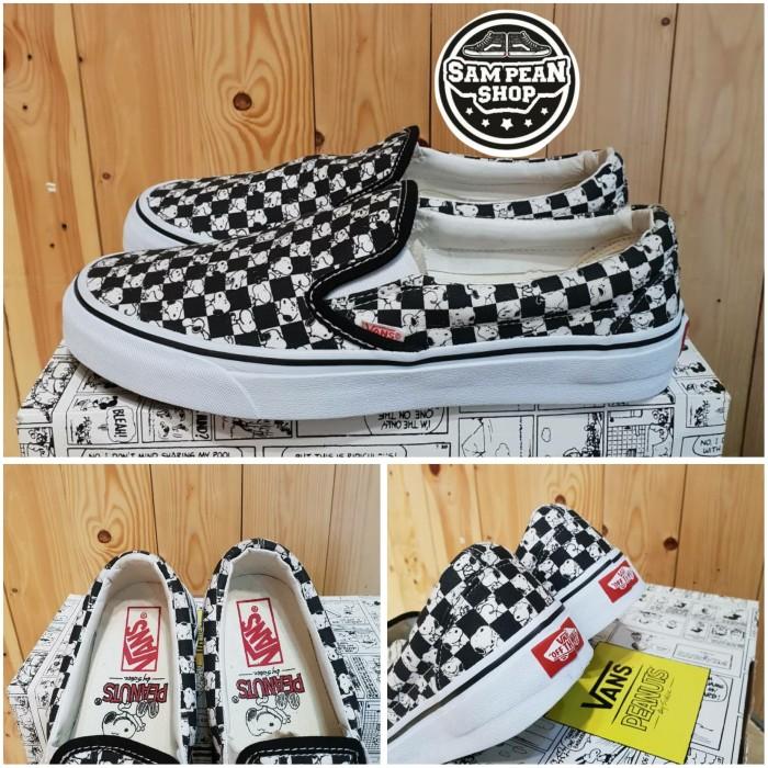 Jual Sepatu Vans Slip On Peanuts Snoopy Catur Checkerboard Premium