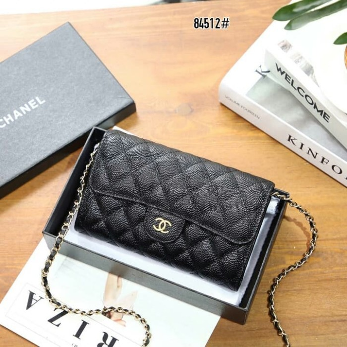 e8a79b2639e4 Jual Chanel Caviar Classic Wallet on Chain👛 #84512 - Hitam ...