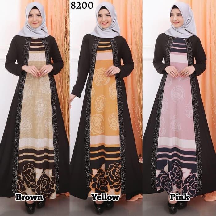 Jual Busana Muslim Gamis Wanita Elegan Jersey Kombinasi Motek Baju Ga M067 Tanah Abang Moeslim Modern Tokopedia