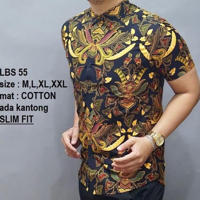 Jual Dijual Baju Kemeja Batik Pria Slim Fit Modern Lengan Pendek ... 2933cbdc6b