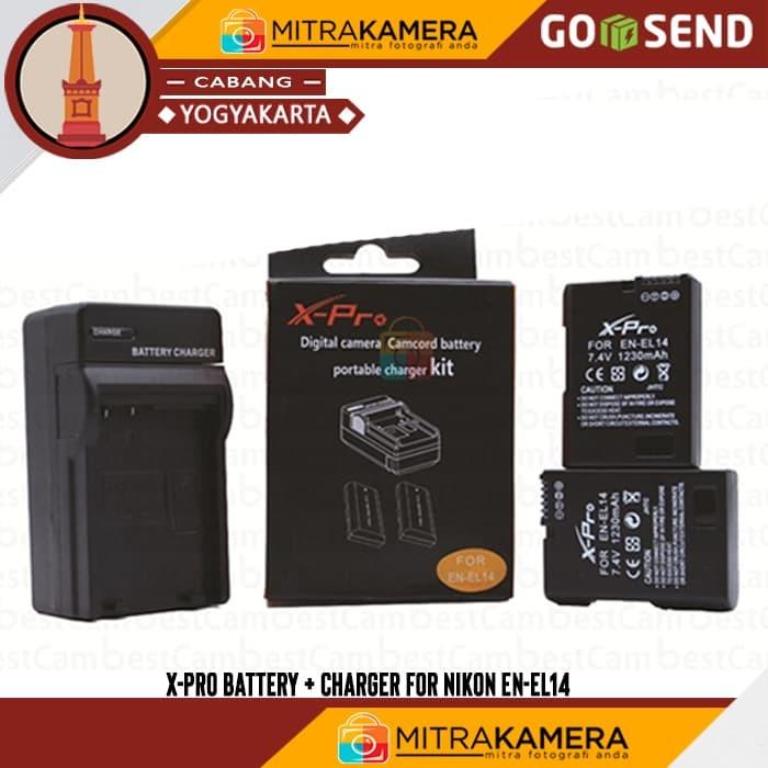 X-Pro Battery & Charger for Nikon EN-EL14 - Hitam