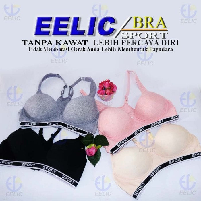 eb8eb76246 EELIC BRA-8003 Sport Bra Baju Sport Olahraga Terdapat Pengait Bra 3x2 -  Perak