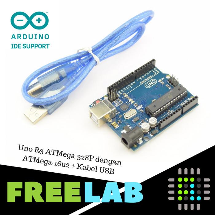 Foto Produk Uno R3 ATMega 328P dengan ATMega 16u2 + Kabel USB Kompatibel Ardu IDE dari Freelab