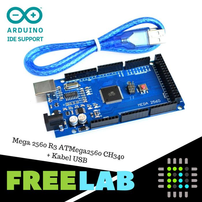 Foto Produk Mega 2560 R3 ATMega2560 dg CH340 + Kabel USB Kompatibel Ardu IDE dari Freelab