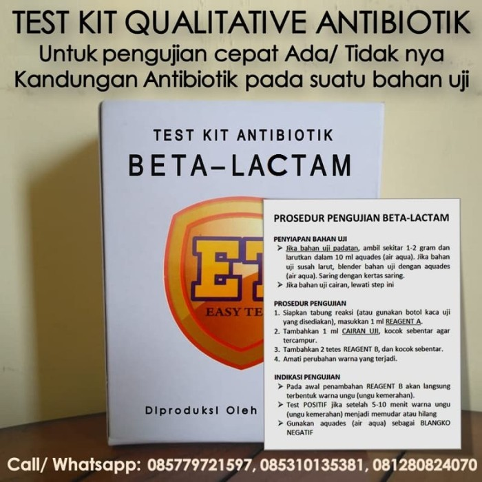 Foto Produk Test Kit Betalaktam - Antibiotic Test Kit - Teskit untk Tes Antibiotik dari ERDUA Business