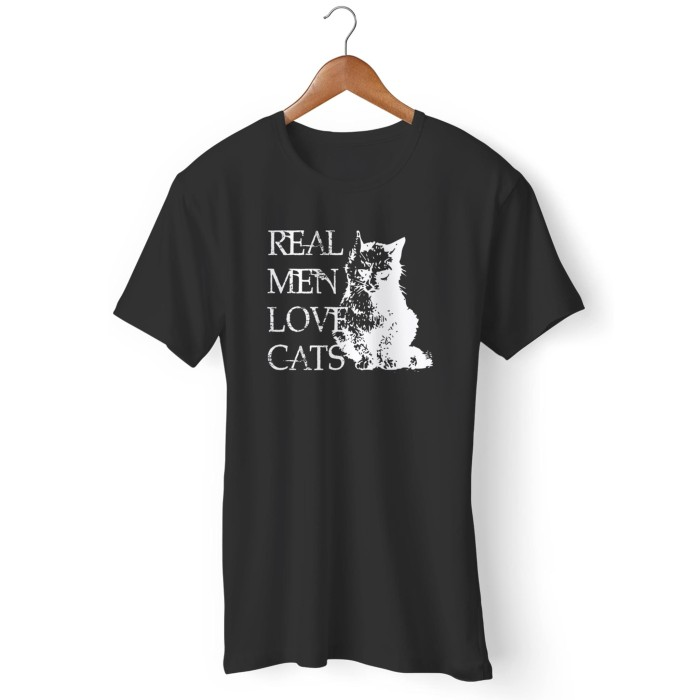 Kaos Father's Day Cat lover Real Men Love Cats