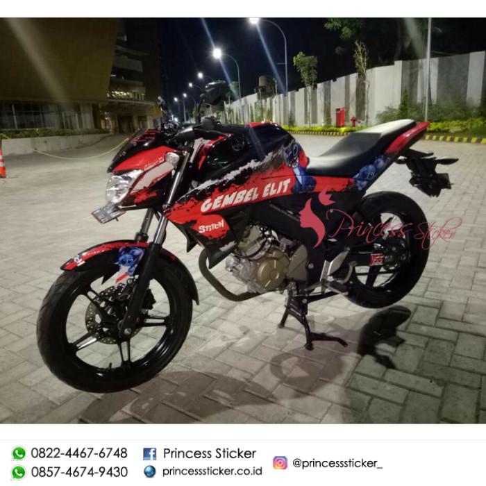Jual Stiker Motor Vixion R Stitch Custom Nama Kota Surabaya Princess Sticker Tokopedia