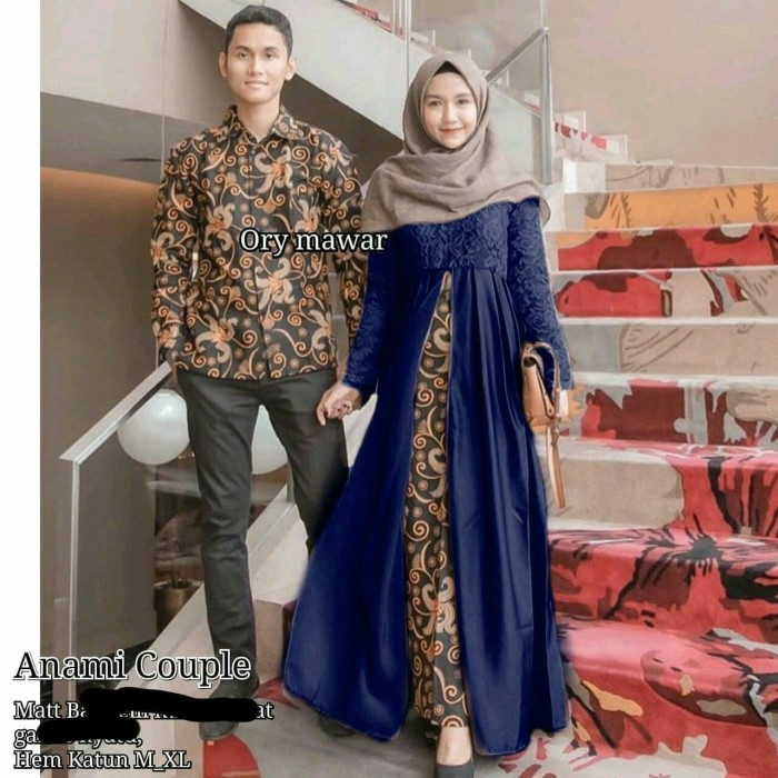 Jual Gamis batik couple brokat mix wolfis baju Gamis batik terbaru murah -  Navy - putrabrawijaya 3d64b0e856