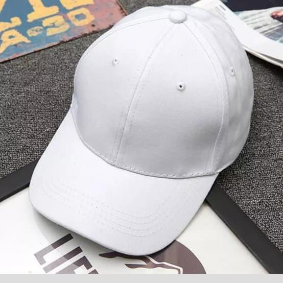 Topi baseball unisex (pria dan wanita) warna putih polos murah 6447bfd96b
