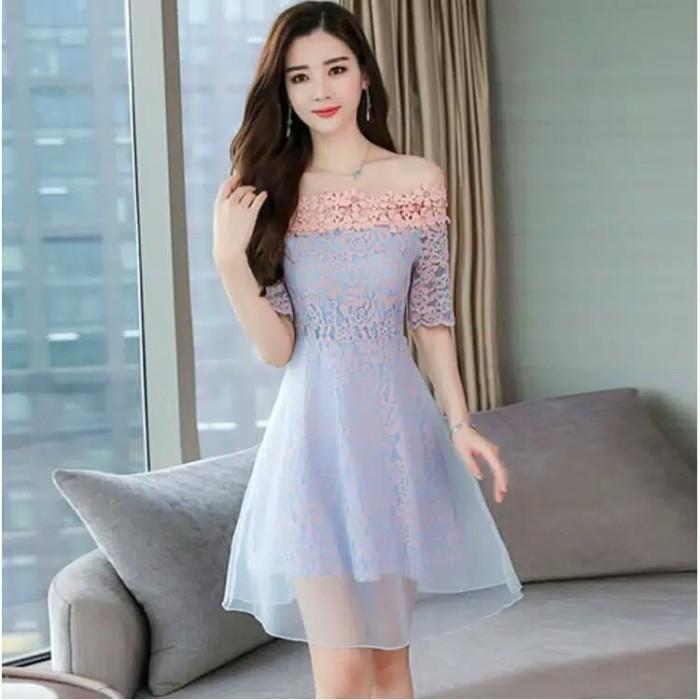 Jual Dress Mini Korea Gaun Pesta Off Shoulder A Line Sabrina Prom