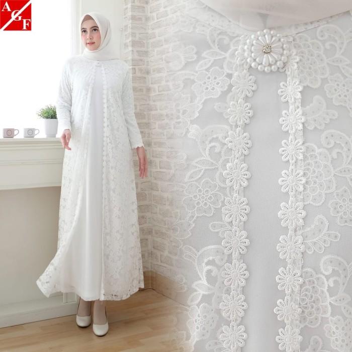 Jual SALE Baju Gamis Wanita Brukat Gamis Putih Lebaran Umroh Haji ... e9159ace32