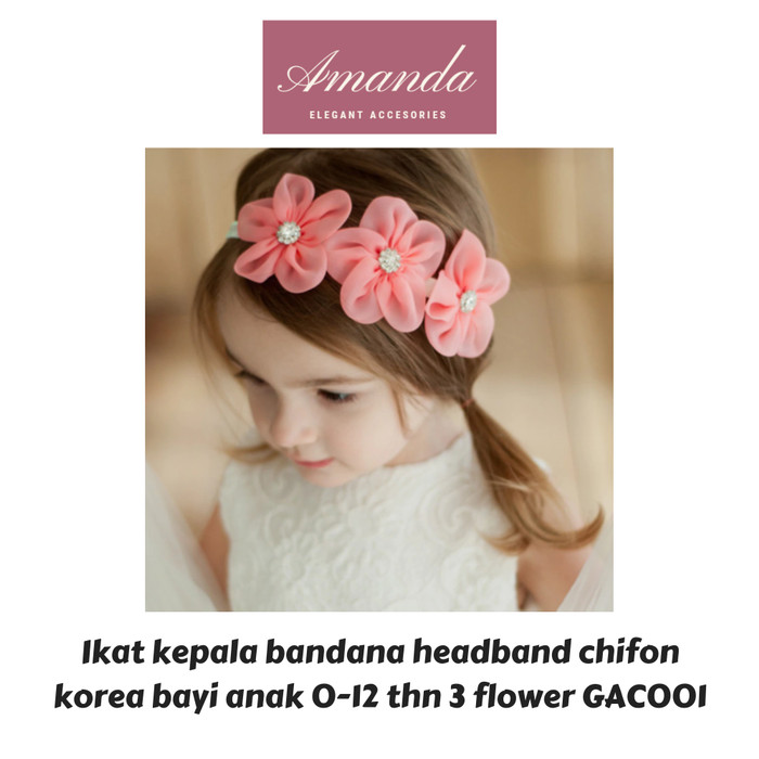 Foto Produk Ikat kepala bandana headband chifon korea bayi anak 3 flower GAC001 dari HAND BOUQUET AMANDA