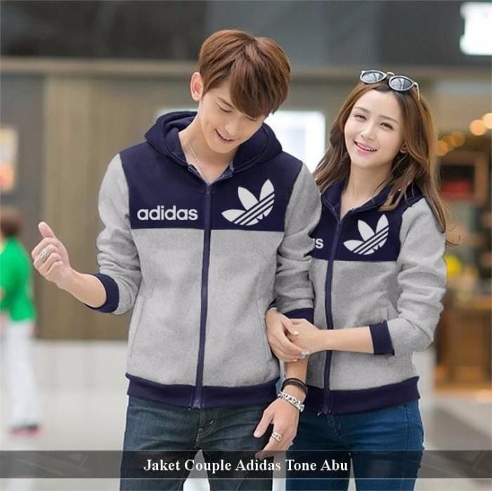 Foto Produk jaket couple adidas tone | jaket tebal | jaket pasangan | jaket polos dari koleksi baju couple