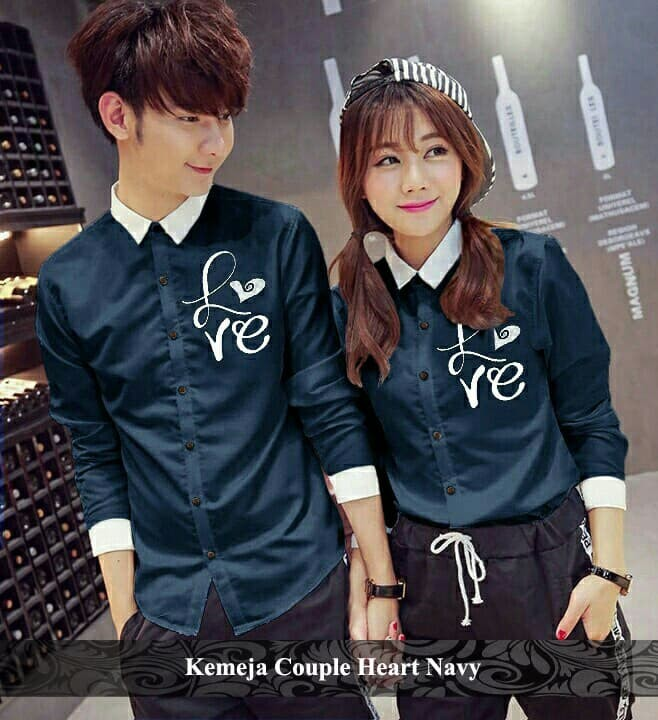 Foto Produk kemeja couple | kemeja kembar | kemeja lucu | kemeja heart - Maroon dari koleksi baju couple