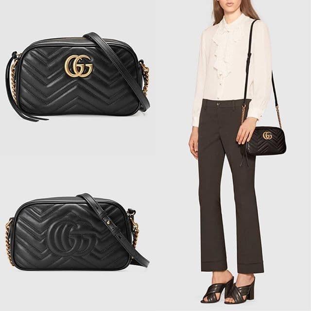 5e6fe167f Jual GUCCI Small GG Marmont Zipper Shoulder Bag in Black GHW - Kota ...