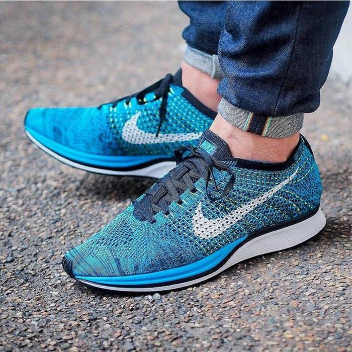 buy popular 1be04 6dbef Sepatu Nike Flyknit Racer Blue Cactus (Premium Original) - Biru, 40