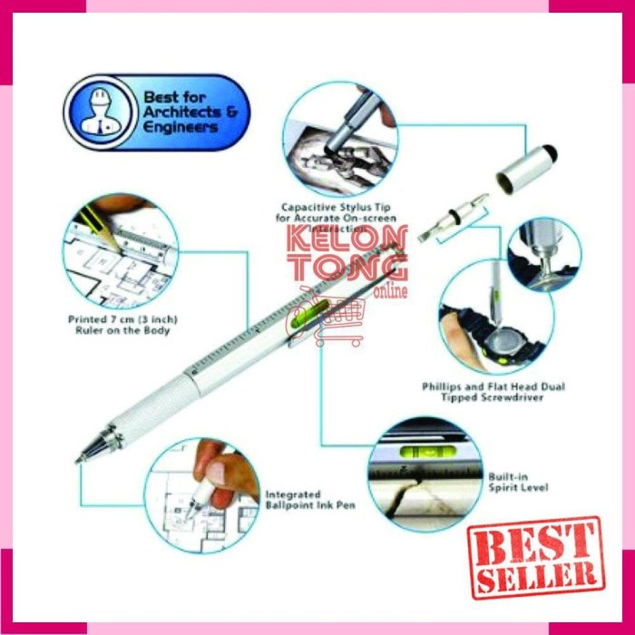 Multifunction Stylus Ruler Level Screwdriver- Pulpen