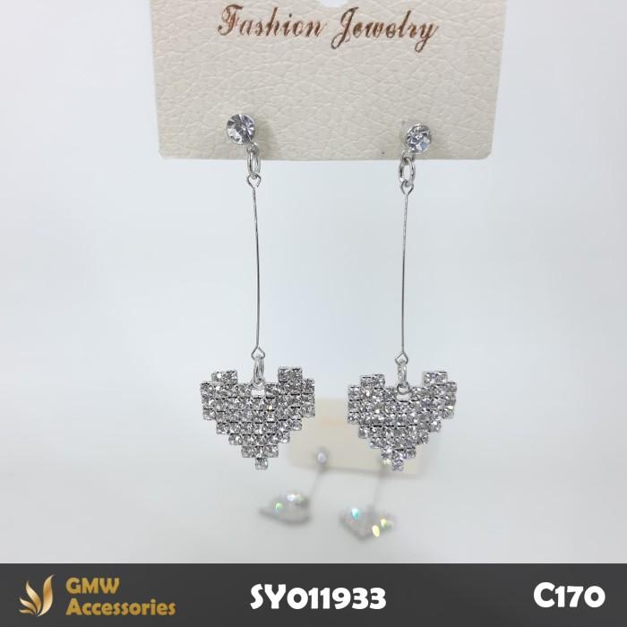 C170 Anting Tusuk Model Hati Permata Kristal Silver Long Earring 5,5cm