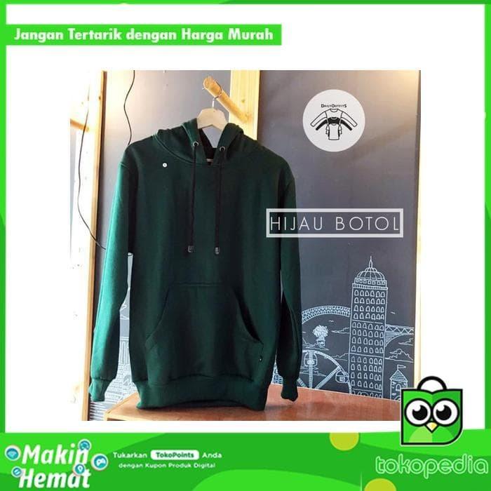 Sale Jaket Sweater Hoodie Polos Jumper Fleece Hijau Botol - Premium ae6252a879