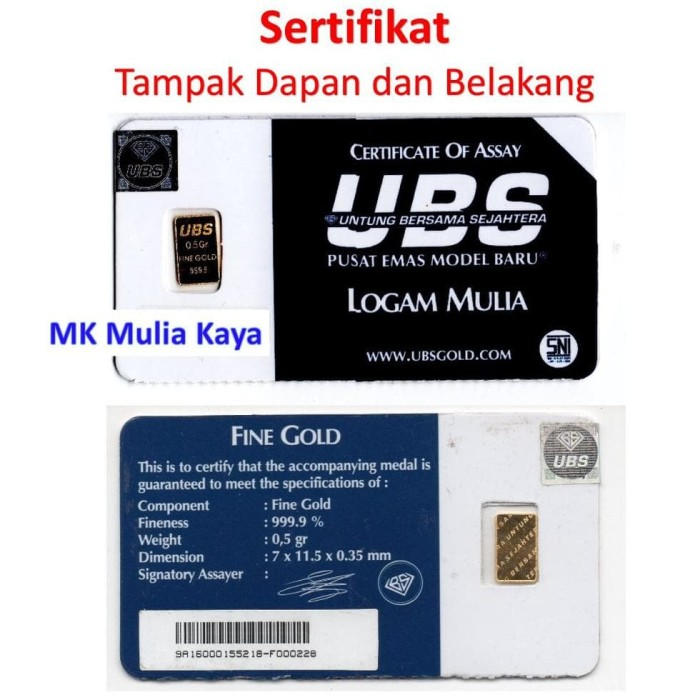 Emas Batangan Ubs 1 Gram Fine Gold 9999 Bersegel Hologram Page 4 Source · Logam Mulia Batangan Emas UBS 0 5 Gram Ber Sertifikat TERLARIS