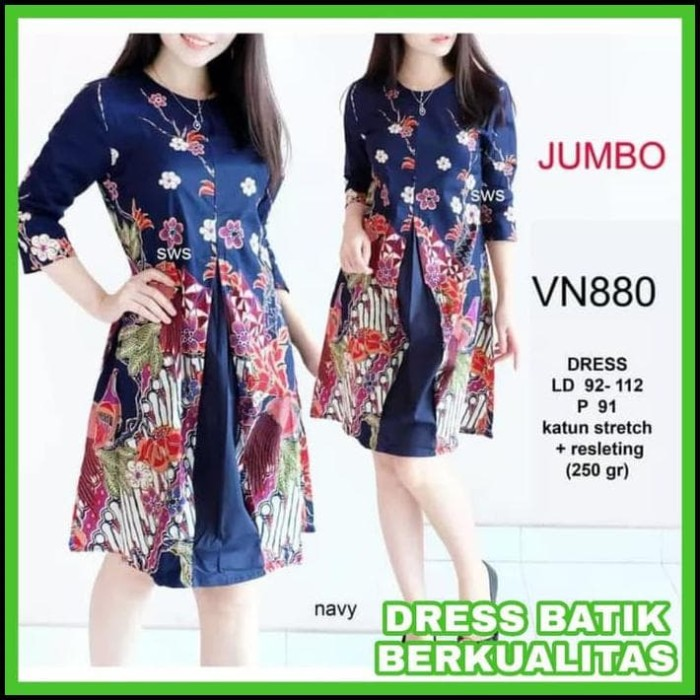 Jual Harga Diskon Baju Kerja Batik Wanita Big Size Dress Kerja Batik ... 74af780166