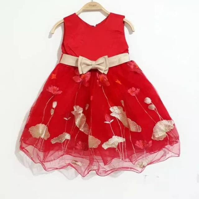 Jual Dress Anak Merah Bunga Gold Gaun Pesta Anak Warna Merah