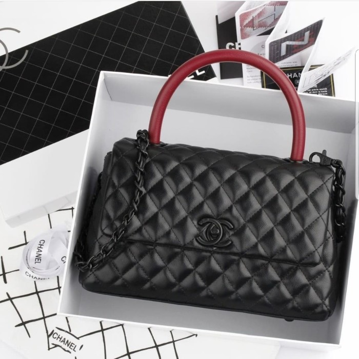 59499679267c Jual Tas Chanel Coco Handle Lambskin So Black Semi Premium Platinum ...