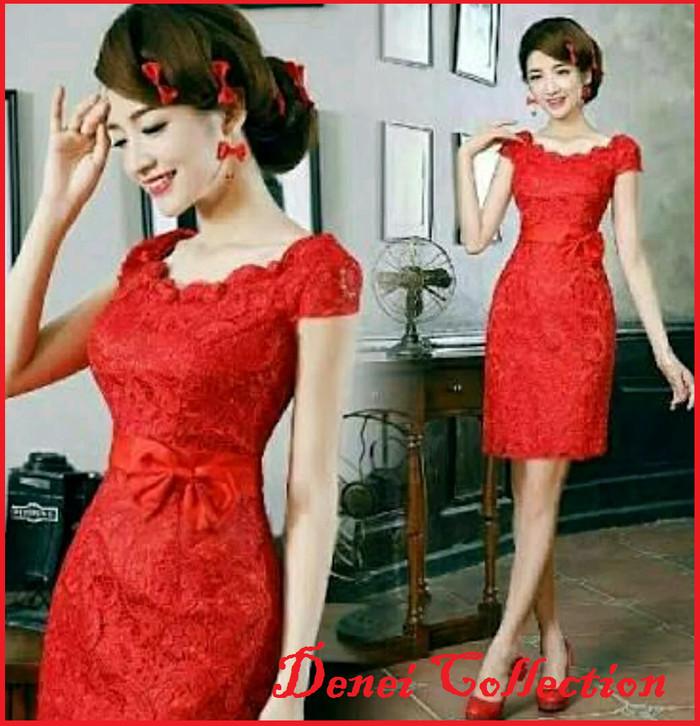 Foto Produk DRESS IMLEK XINCIA CHEONGSAM BRUKLAT FURING RED DRES PINK WANITA MERAH dari De'Nei Collection