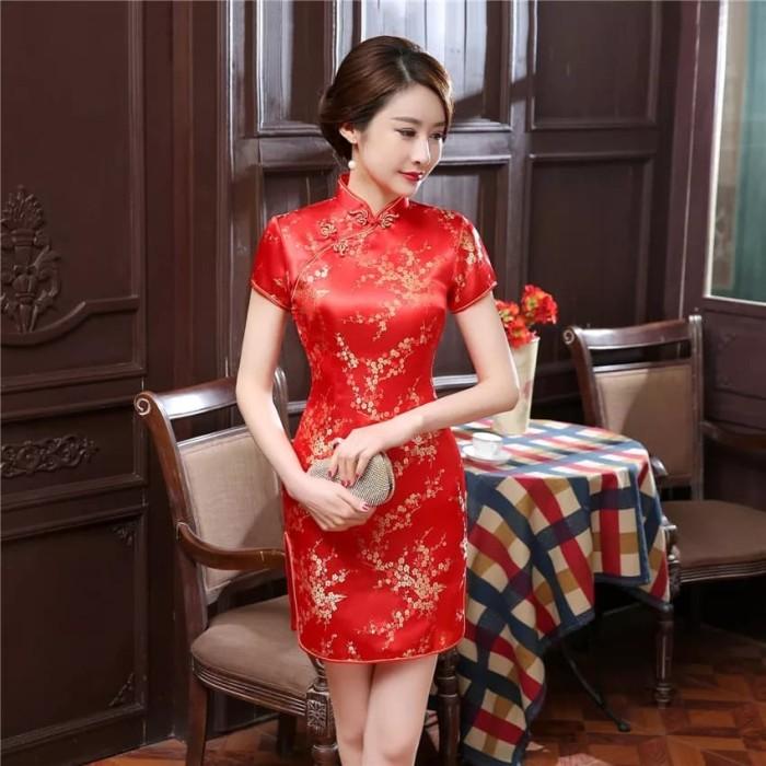 Foto Produk Cheongsam Dress / Qipao / Baju Imlek / Dress Sincia / Baju Sangjit - Merah, XXL dari D'Accessories.id