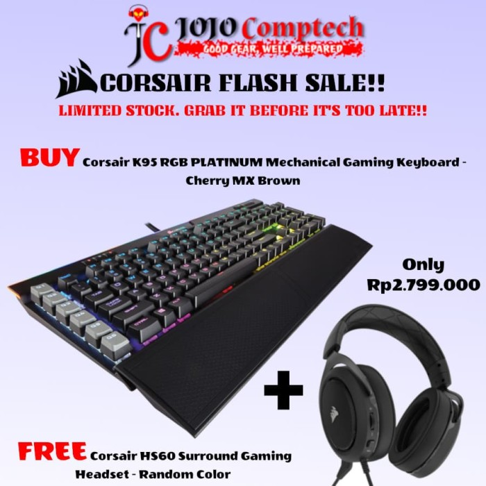 harga Corsair k95 rgb platinum mechanical gaming keyboard - cherry mx brown Tokopedia.com