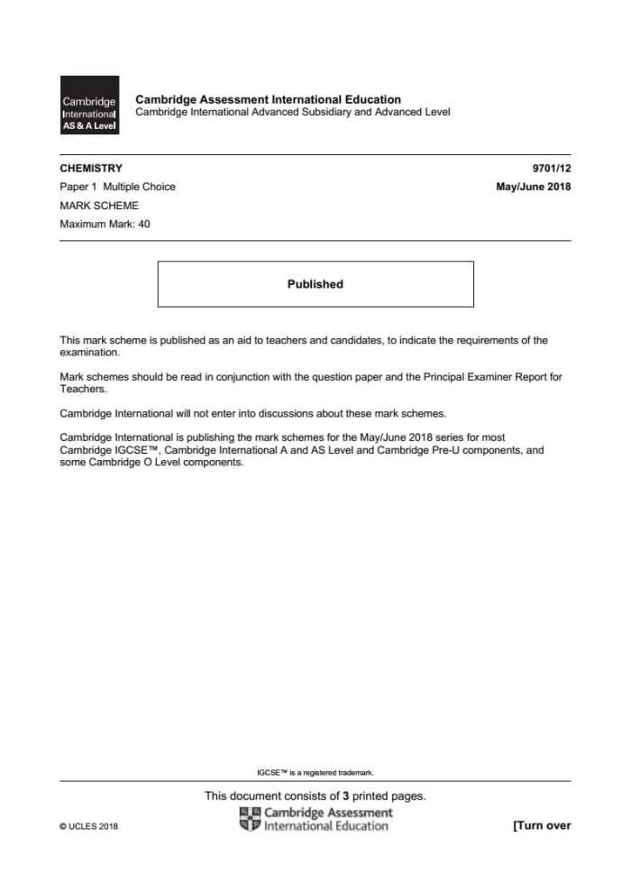 Jual AS level Chemistry 9701 May/Jun past papers and mark schemes 2014-2018  - Jakarta Barat - Cambridge | Tokopedia