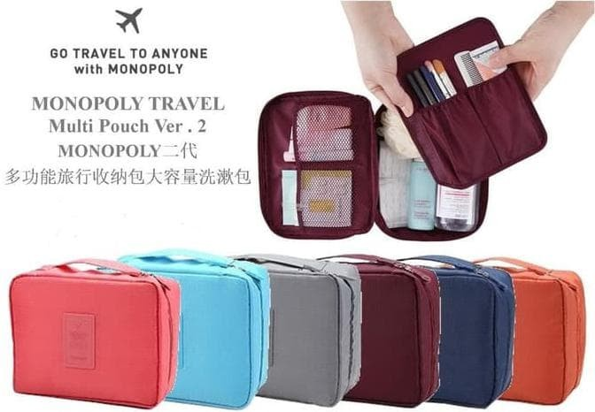 tas makeup make up kosmetik Tas multifungsi travel Pouch - Biru Muda